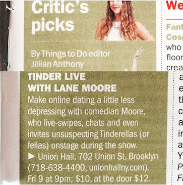 tinder live lane moore union hall time out new york
