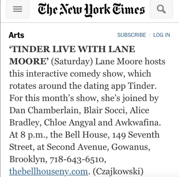 Tinder dating new york times